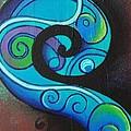 Tribal Koru Blue by Reina Cottier