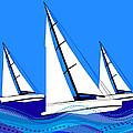 Trio Of Sailboats by Elaine Plesser