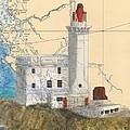 Triple Islands Lighthouse Bc Canada Chart Art by Cathy Peek