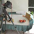 Tripod And Bowl Of Fruit by Rich Franco