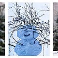 Triptych - Christmas Trees And Snowman - Featured 3 by Alexander Senin
