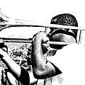 Trombone Man Bw by Steve Harrington