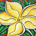 Tropical Abstract Pop Art Original Plumeria Flower Painting Pop Art Tropical Passion By Madart by Megan Duncanson