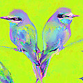 Tropical Birds Blue And Chartreuse by Jane Schnetlage