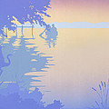 abstract tropical boat Dock Sunset large pop art nouveau retro 1980s florida landscape seascape by Walt Curlee