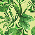 Tropical Palm Leaves Seamless Background by Berry2046