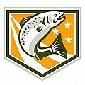 Trout Jumping Retro Shield by Aloysius Patrimonio