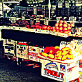 Vintage Outdoor Fruit And Vegetable Stand - Markets Of New York City by Miriam Danar