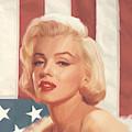 True Blue Marilyn In Flag by Chris Consani
