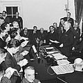 Truman Announces V-e Day by Underwood Archives