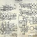 Trumpet Patent Drawing by Jon Neidert