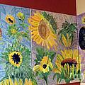 Tryptich Corner Sunflowers by Vicky Tarcau