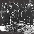 Tucson Police Department  On Steps Of City Hall With 1st Police Motorcycle C. 1917 Tucson Arizona by David Lee Guss