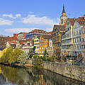 Tuebingen Neckarfront With Beautiful Old Houses by Matthias Hauser