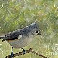 Tufted Titmouse With Decorations by Debbie Portwood