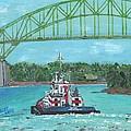 Tug Sabine Under Bourne Bridge by Cliff Wilson