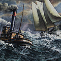 Tugboat And Lumber Schooner In Storm by Miller Keith