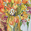 Tulips And Narcissi In An Art Nouveau Vase by Joan Thewsey