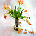 Tulips In An Old Silver Pitcher by Louise Kumpf