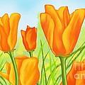 Tulips In Grass by Alena Fotkova