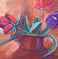 Tulips In Pitcher by Bettye  Harwell