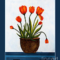 Tulips On A Blue Buffet With Borders by Barbara Griffin