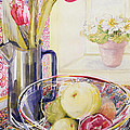 Tulips With Fruit In A Glass Bowl  by Joan Thewsey