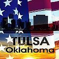 Tulsa Ok Patriotic Large Cityscape by Angelina Tamez