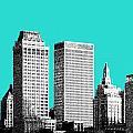 Tulsa Skyline - Aqua by DB Artist