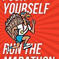 Turkey Run Marathon Runner Poster by Aloysius Patrimonio