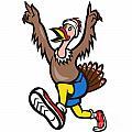 Turkey Run Runner Cartoon Isolated by Aloysius Patrimonio