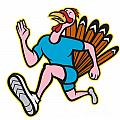 Turkey Run Runner Side Cartoon Isolated by Aloysius Patrimonio