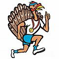 Turkey Run Runner Thumb Up Cartoon by Aloysius Patrimonio
