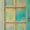 Turquoise And Pale Yellow Panel Door by Asha Carolyn Young