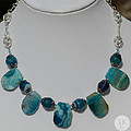 Turquoise And Sapphire Agate Necklace 3674 by Teresa Mucha