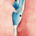Turquoise Dress Watercolor Fashion Illustration by Beverly Brown Prints
