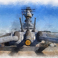 Turrets 1 And 2 Uss Iowa Battleship Photo Art 01 by Thomas Woolworth