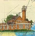 Turtle Rock Lighthouse Pa Chart Map Art  by Cathy Peek