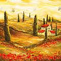 Tuscan Poppies - Tuscan Poppy Fields Impressionist by Lourry Legarde