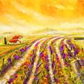 Tuscan Vineyard Sunset - Vineyard Impressionist Paintings by Lourry Legarde