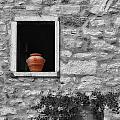 Tuscan Window And Pot Bw And Color by Mike Nellums