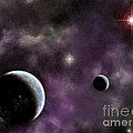 Twin Planets With Nebula by Antony McAulay