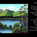 Twin Ponds And 23 Psalm On Black Horizontal by Barbara Griffin