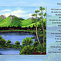 Twin Ponds And 23 Psalm On Blue Horizontal by Barbara Griffin