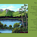 Twin Ponds And 23 Psalm On Green Horizontal by Barbara Griffin