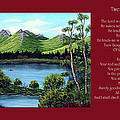 Twin Ponds And 23 Psalm On Red Horizontal  by Barbara Griffin