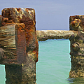 Twin Rusted Dock Piers Of The Caribbean by David Letts