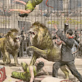 Two Acrobats Fall Into The  Lions' by Mary Evans Picture Library