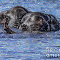 Two African Elephants Swimming In The Chobe River by Liz Leyden