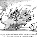 Two Cave People Ride A Dinosaur Like A Horse by Farley Katz